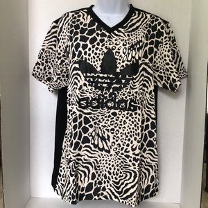 Adidas Leopard print trefoil large shirt NWT!